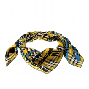 Burberry Yellow Scribble Check Printed Silk Square Scarf