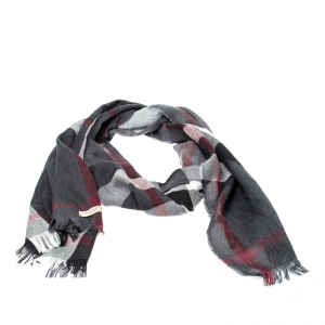 Burberry Charcoal Grey Classic Check Cashmere Wool Fringed Scarf