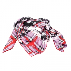 Burberry Fuchsia Pink Scribble Print Mulberry Silk Twill Square Scarf