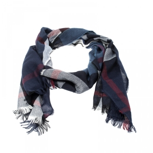 Burberry Navy Blue Lightweight Check Wool Cashmere Scarf