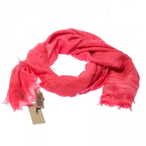 Burberry Bright Coral Red Cashmere Blend Frayed End Shawl