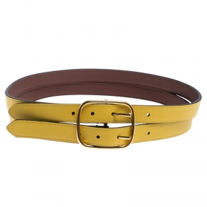 Burberry Yellow/Brown Leather Lynton Double Strap Belt 85CM