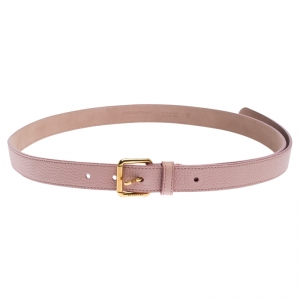 Burberry Pale Pink Leather Thomas Buckle Belt 95CM