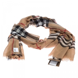 Burberry Camel Brown Novacheck Wool and Silk Shawl