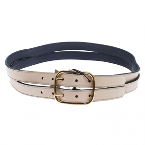 Burberry Ivory Leather Lynton Double Strap Belt 90CM