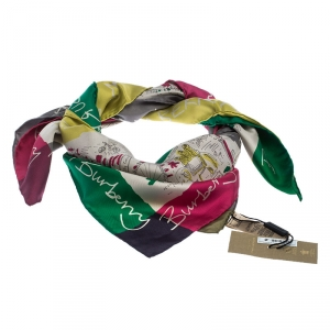Burberry Multicolor Printed Silk Scarf