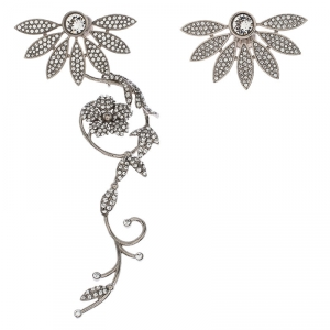 Burberry Half Daisy Crystal Silver Tone Clip-on Asymmetric Stud Drop Earrings