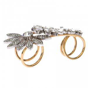 Burberry Gold Tone Daisy Crystal Double Ring