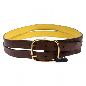 Burberry Brown/Yellow Leather Lynton Double Strap Belt 85CM
