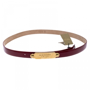 Burberry Red Leather Reese Slim Belt 100CM