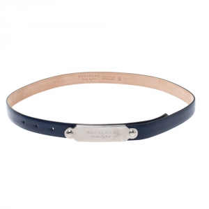 Burberry Blue Leather Reese Slim Belt 80CM