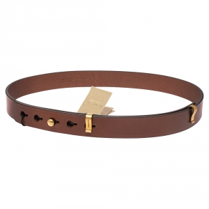 Burberry Brown Leather Ashmore Belt 85CM