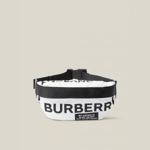 Burberry White Sonny Medium Logo Belt Bag