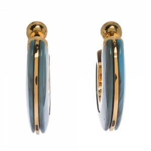 Burberry Blue Marbled Resin Gold Tone Hoop Earrings
