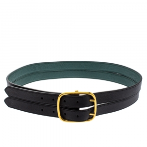 Burberry Black/Green Leather Lynton Double Strap Belt 85CM