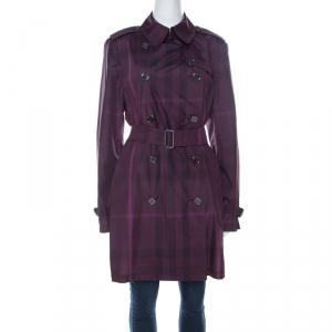 Burberry Brit Plum Purple Novacheck Print Double Breasted Coat L