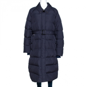Burberry Navy Blue Goose Down Bridgnorth Quilted Coat XL