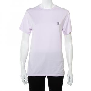 Burberry Lavender Cotton Logo Embroidered Crewneck T-Shirt XS