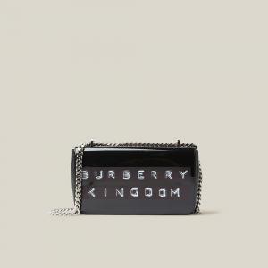 Burberry Black Kingdom Logo Patent Leather Bag