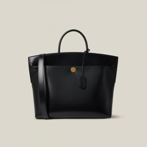 Burberry Black Society Top-Handle Leather Tote