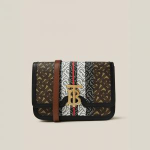 Burberry Brown TB-Print Canvas and Leather Crossbody Bag