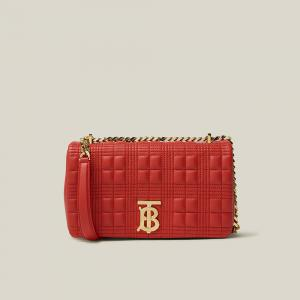 Burberry Red Lola Quilted Leather Shoulder Bag