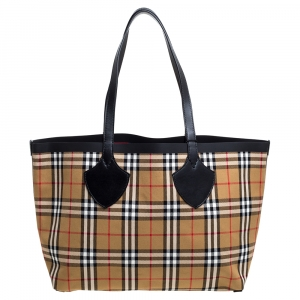 Burberry Beige/Red Vintage Check Canvas Medium Reversible Giant Tote