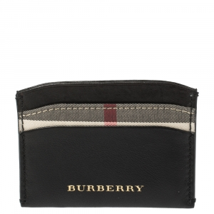 Burberry Black Leather and Check Canvas Izzy Card Holder