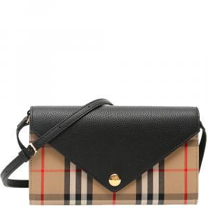Burberry Beige/Brown Check Canvas Hannah Mini Bag