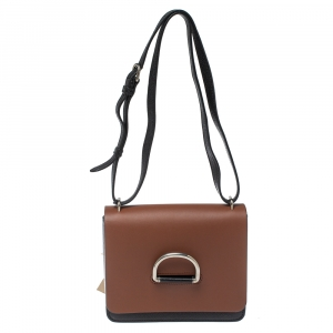Burberry Brown/Black Leather D-Ring Small Crossbody Bag
