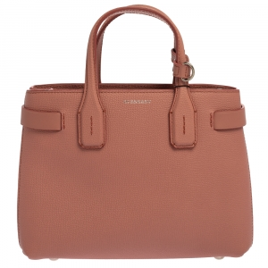 Burberry Dusty Pink Leather Small Banner Tote