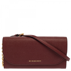 Burberry Burgundy Leather Henley Wallet on Chain -