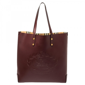 Burberry Burgundy Leather Large Crest Shopper Tote