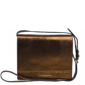 Burberry Antique Gold Lizard Leather Crossbody Bag