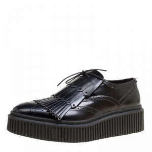 Burberry Black Brogue Leather Chelsam Lace Up Platform Oxfords Size 40