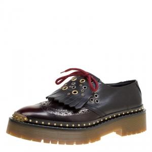 Burberry Two Tone Brogue Leather Bissett Fringe Detail Lace Up Platform Derby Size 41