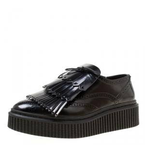 Burberry Black Brogue Leather Chelsam Lace Up Platform Oxfords Size 38
