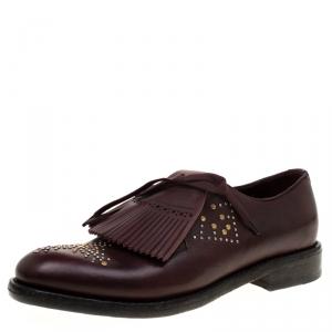 Burberry Burgundy Studded Leather Ampney Fringe Detail Derby Size 39.5