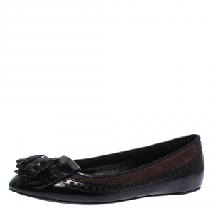 Burberry Black Brogue Leather Tassel Fringe Ballet Flats Size 41 - used