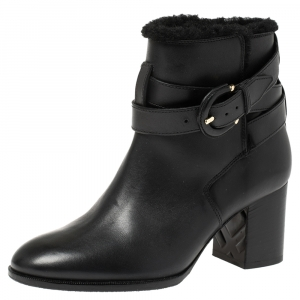 Burberry Black Leather Shearling Ankle Boots Size 36