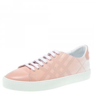 Burberry Pink Perforated Leather Westford Low Top Sneakers Size 42
