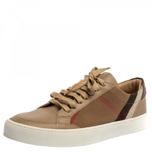 Burberry Beige/Brown Canvas And Leather Reynold Low Top Sneakers Size 39