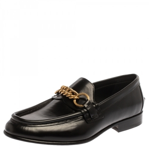 Burberry Black Leather Solway Chain Detail Slip On Loafers Size 41