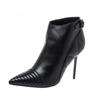 Burberry Black Leather Trench Alexandra Ankle Boots Size 40