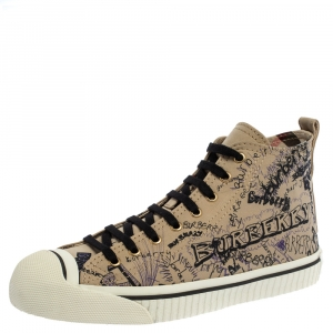 Burberry Beige Canvas Doodle High Top Sneakers Size 40