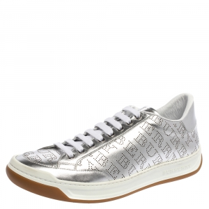 Burberry Silver Perforated Leather Timsbury Low Top Sneakers Size 41