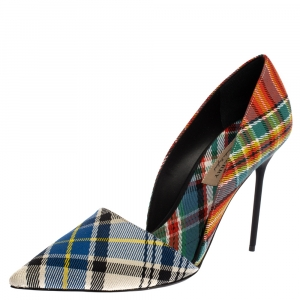 Burberry Multicolor Canvas Virna D'orsay Pointed Toe Pumps Size 40