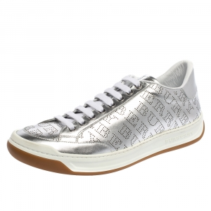 Burberry Silver Perforated Leather Timsbury Low Top Sneakers Size 42
