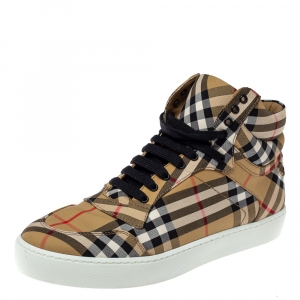 Burberry Beige Check Canvas High Top Sneakers Size 40