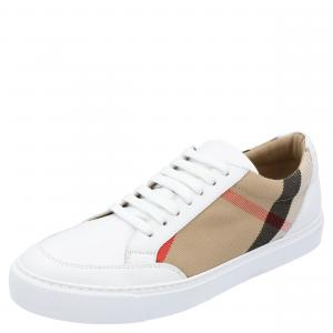 Burberry White Check Canvas Salmond Low Top Sneaker Size EU 38.5